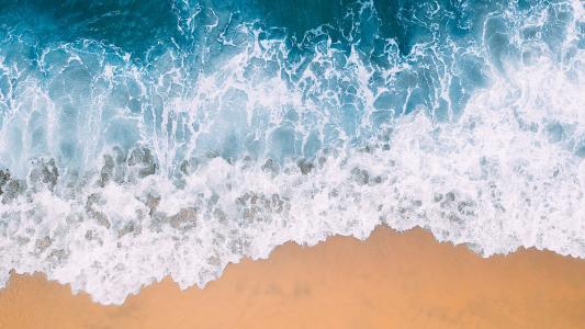 海岸线航拍壮观秀丽美景