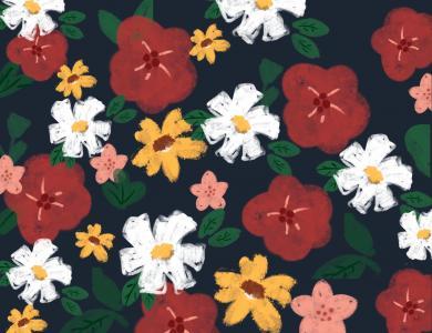 超可爱的平铺油画花朵