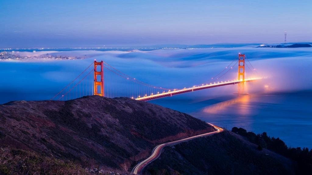 唯美城市桥梁夜景风光