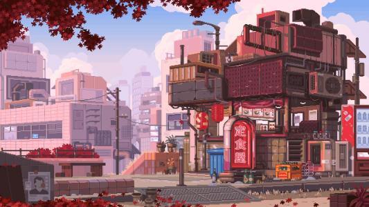 日系卡通街道风景图片