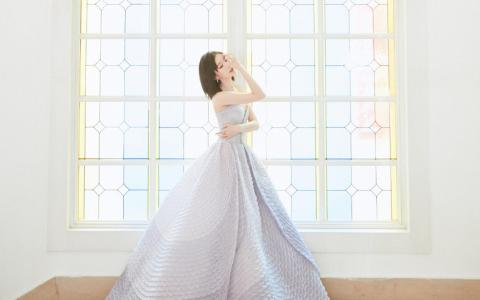毛晓彤抹胸紫色长裙优雅气质个人写真