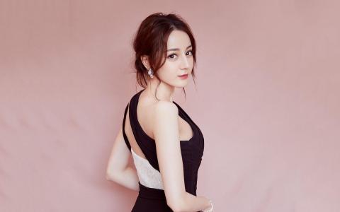 迪丽热巴黑色礼服裙高雅气质写真