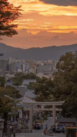 日系复古街道夕阳唯美风景