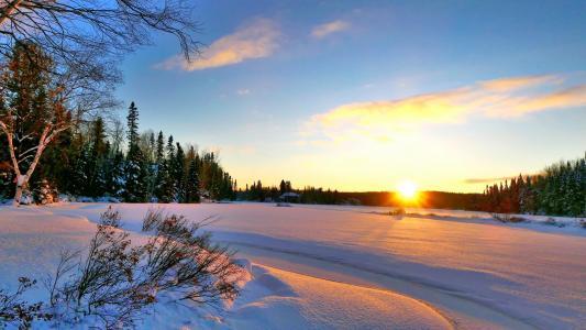 加拿大魁北克雪景