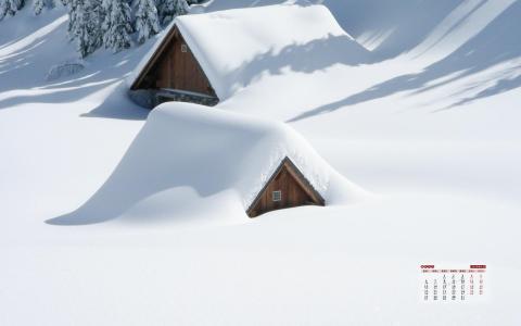 2020年1月雪中的小屋风景日历