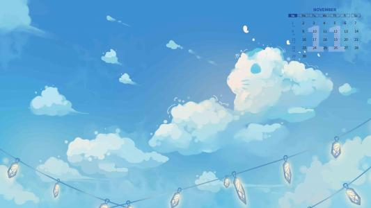 2020年11月二次元云朵日历