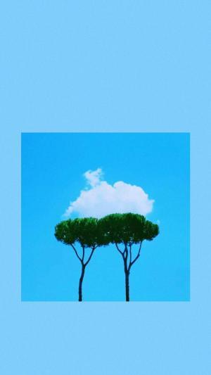 蓝色背景简约小清新风景