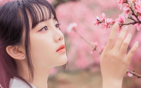 桃花树下古装美女养眼迷人写真