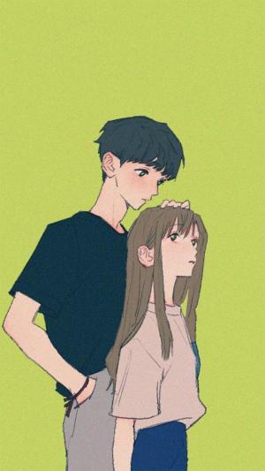 甜蜜情侣的手绘插画