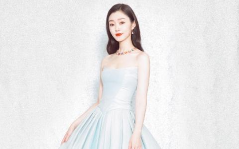 宋轶蓝色长裙优雅迷人写真