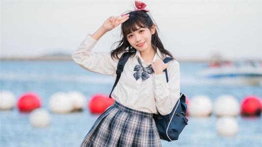 日系清纯美女JK制服户外小清新写真