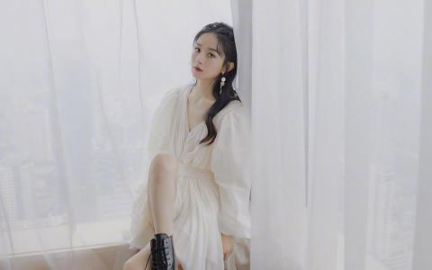 赵丽颖白纱裙优雅气质迷人写真